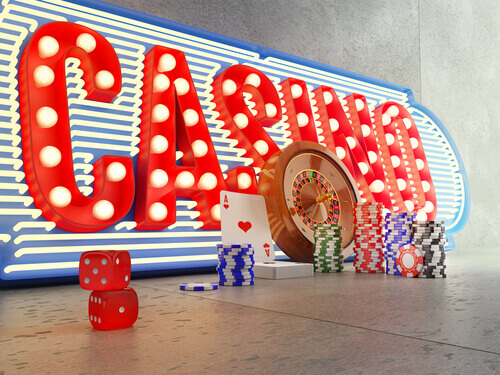 Neon casino sign - land based casinos